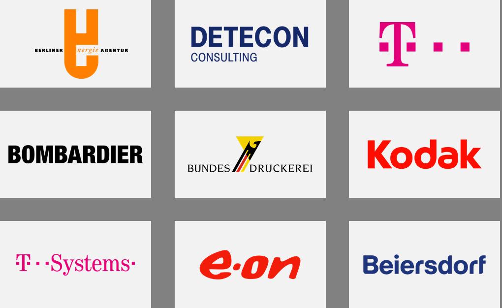 Übersicht der Referenzen der abilcon management GmbH für Beratung. Training und Interim Management